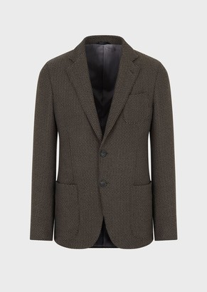 Giorgio Armani Regular-Fit, Knit Jacket With 3D-Chevron Motif From The Upton Line