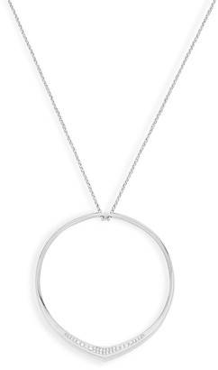 MICHAEL Michael Kors Silvertone Crystal Circle Pendant Long Necklace