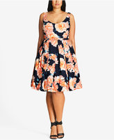 City Chic Plus Size Floral-Print Fit & Flare Dress