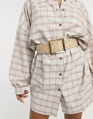 ASOS DESIGN wide double prong waist belt in beige