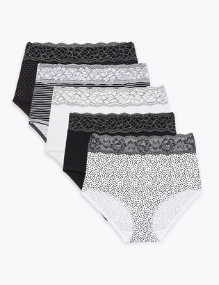 Marks and Spencer 5pk Cotton Lycra & Lace Printed Full Briefs