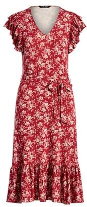 Lauren Ralph Lauren Ralph Lauren Floral Ruffle-Sleeve Jersey Dress