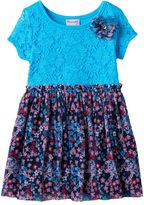 Nannette Girls 4-6x Lace Front Patterned Dress