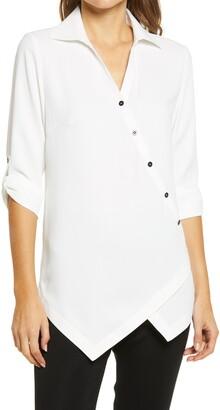 Ming Wang Asymmetrical Button Front Blouse