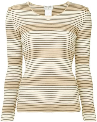 Chanel Pre-Owned striped ribbed top