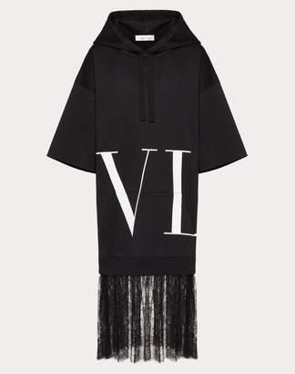 Valentino Macro Vltn Detail And Chantilly Sweatshirt Dress Women Black Polyester 100% L