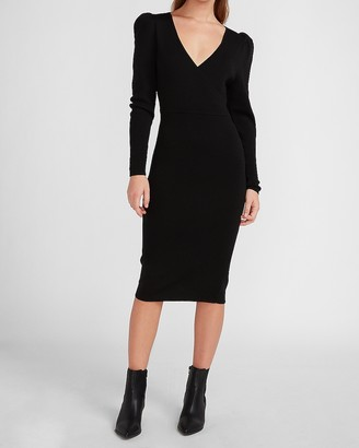 Express Wrap Front Puff Sleeve Sweater Dress