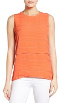 Chaus Women's Crinkle Woven Sleeveless Blouse