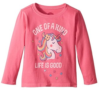 Life is Good One of a Kind Crusher T-Shirt Long Sleeve (Toddler) (Fiesta Pink) Kid's T Shirt