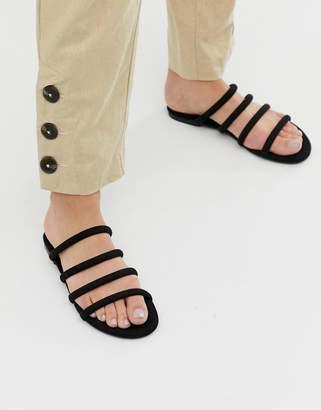 Monki multi strap flat sandal in black
