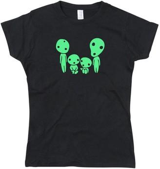 Nerdshirts Kodama Family Tree Forest Spirits Glow in The Dark Lady Fit Ladies T-Shirt Black Small