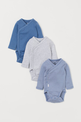 H&M 3-pack Long-sleeved Bodysuits - Blue