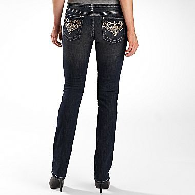 JCPenney a.n.a® Embellished Straight-Leg Jeans