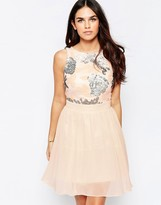 Little Mistress Fit and Flare Dress with Sequin Top