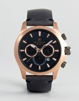 Accurist 7179.01 Chronograph Leather Watch In Black
