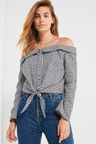 Backstage Olivia Tie-Front Button-Down Gingham Top