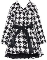 Yoki Little Girls Black Houndstooth Button-Up Belted Coat 5-6