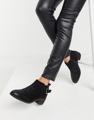 Dune mid heeled ankle buckle boots in black leather
