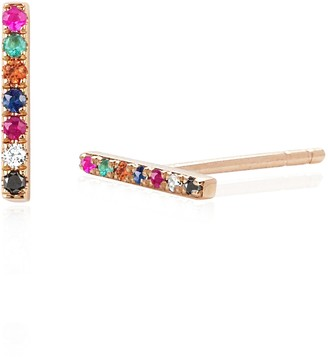 Ef Collection 14ct Rose Gold Rainbow Bar Stud Earrings