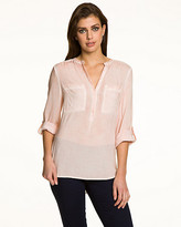 Le Château Challis V-Neck Roll-Up Sleeve Blouse