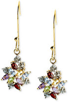 Macy's 18k Gold over Sterling Silver Earrings, Multistone and Diamond Accent Cluster Drop Earrings