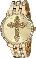 EWatchFactory Men's 'EW Cross Religious' Quartz Metal and Stainless Steel Casual Watch, Color:-Toned (Model: PW00208)