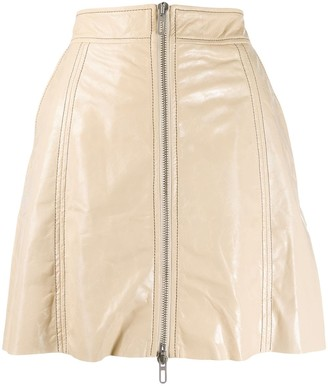 Drome Zipped Leather A-Line Skirt