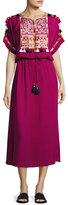 Figue Short-Sleeve Tie-Waist Midi Dress, Magenta
