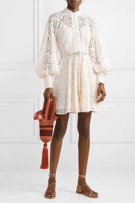 Zimmermann Amari Guipure Lace Mini Dress - Off-white