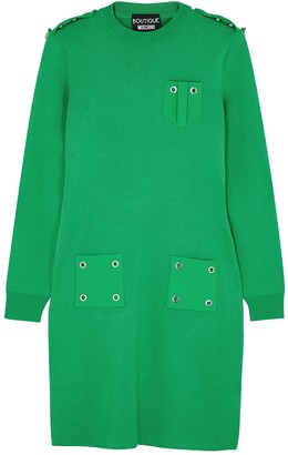 Boutique Moschino Green eyelet-embellished wool jumper dress