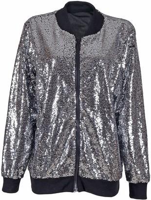 Zeetaq Women's Ladies Evening Party Clubbing Disco Two Tone Sequin Bomber Jacket UK Size S-XL