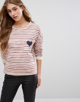 Only Stripe Sweatshirt with Heart Pocket
