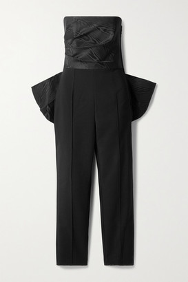 SOLACE London Willa Strapless Bow-embellished Paneled Moire And Crepe Jumpsuit - Black