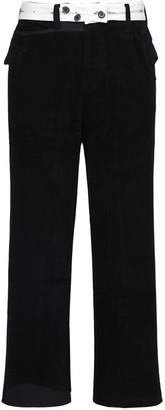 Ader Error Asymmetric Crop Cotton Velvet Pants