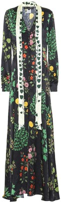 Oscar de la Renta Printed silk-jacquard dress