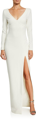 LIKELY Leandra V-Neck Long-Sleeve Column Gown w/ Thigh-Slit