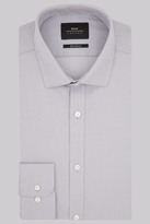 Moss Bros Premium Extra Slim Fit Grey Single Cuff Basketweave Shirt