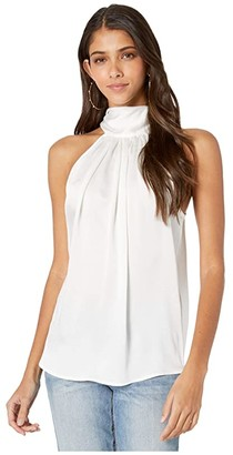 Bishop + Young Satin Tie Neck Top (White) Women's Clothing
