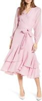 Rachel Parcell Seersucker Long Sleeve Wrap Dress
