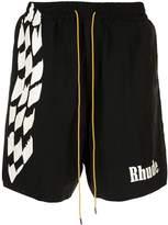 Rhude check print track shorts