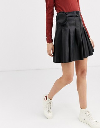 ASOS DESIGN leather look pleat mini skirt with belt bag