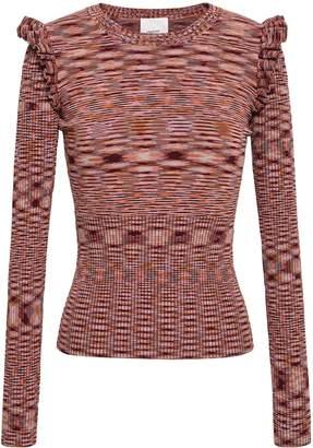 Cinq à Sept Ruffle-trimmed Melange Stretch-knit Sweater