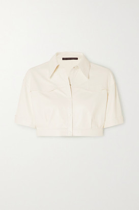 ZEYNEP ARCAY Cropped Leather Shirt - White