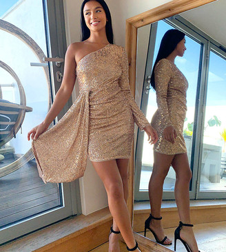 Jaded Rose Petite exclusive sequin one shoulder mini dress with train in gold