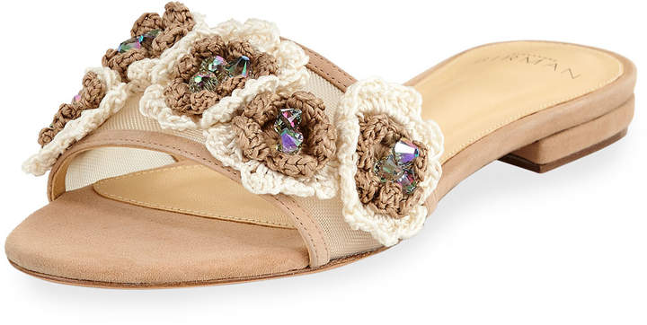 Alexandre Birman Dandelion Crocheted Mesh Slide Sandal