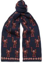 Paul Smith Monkey Jacquard-Knit Wool Scarf
