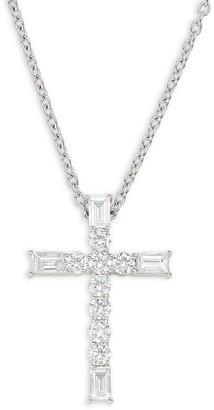 Effy 18K White Gold & Diamond Cross Pendant Necklace