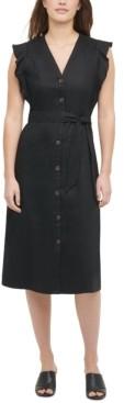 Calvin Klein Side-Ruffle Button-Down Dress