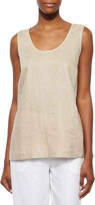 Go Silk Plus Size Linen Scoop-Neck Tank