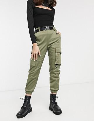 Bershka slouchy cargo trouser in khaki